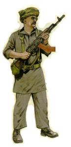 RKB depicted in his Afghan garb. Painting by Ken McSwan from Uniforms of the Soldiers of Fortune by Leroy Thompson, Blanford Press, 1985